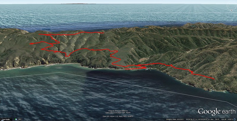 Our hiking track as seen in Google Earth