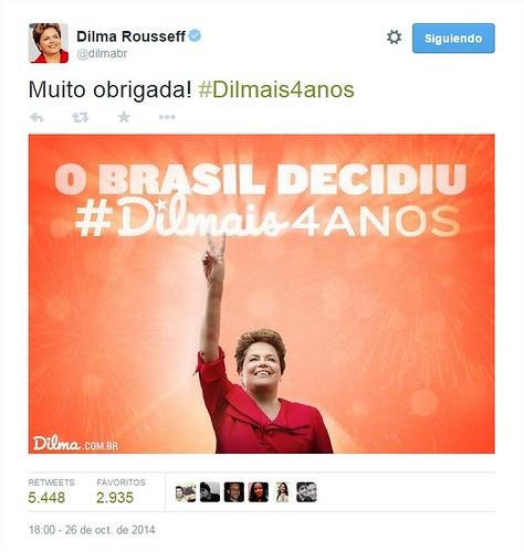 Dilma Rousseff en Twitter Muito obrigada! #Dilmais4anos httpt.coLcPPKMOgHz - Google Chrome