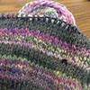 On a hat knitting roll lately. Another Turn-a-Square by Jared Flood. Charcoal yarn with handspun strips.  Nice & dramatic. #50hats2014 #knitting #holidayknitting #handspun #handwork