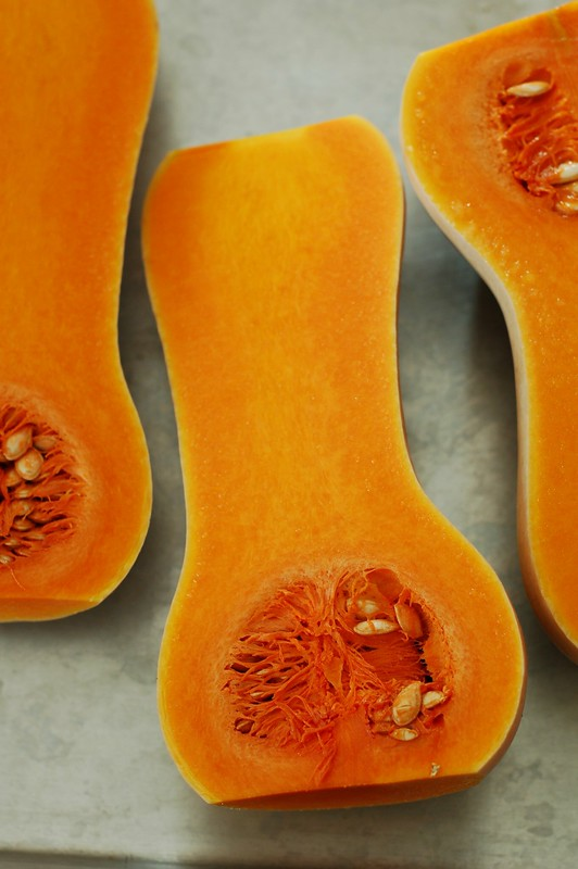 Butternut squash halves by Eve Fox, The Garden of Eating, copyright 2014