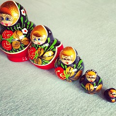 5 is for... Five little Matryoshka dolls.