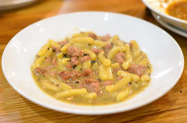 Cavatelli alla Norcina. ricotta dumplings. housemade pork sausage. black truffles. grana padano.