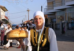 Macedonia, girl with a loaf, macedonian tradition of Greece #Μacedonia