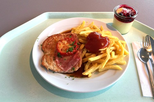"Pork Steak gratinated with ham, tomato & cheese + french fries / Schweinesteak ""Tessin"" mit Pommes Frites"
