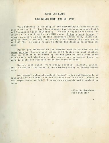 Undated letter sent by Mr. Stephens regarding the November 10, 1984 Louisville Trip