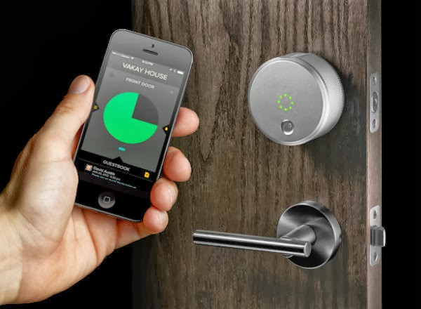 The August Smart Lock uses a smartphone app and Bluetooth connection