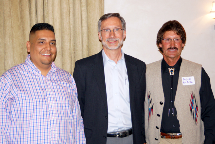 Rio Arriba County Commissioners Barney Trujillo (left) and Alfredo Montoya (right) with Los Alamos National Laboratory Director Charles F. McMillan at the October 8 Rio Arriba Leadership Summit in Española.
