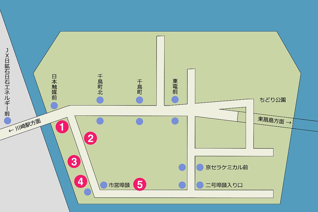 川崎工場夜景マップ(千鳥町エリア)