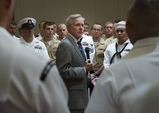 SECNAV Ray Mabus speaks with Sailors from the USS Rodney M. Davis during an all-hands call in Medan, Indonesia