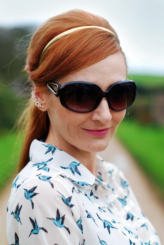 Bird print blouse (over 40 fashion)
