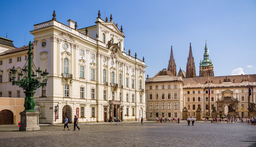 The Archbishop's Palace (on the left) and Prague Castle on Hradcany Square