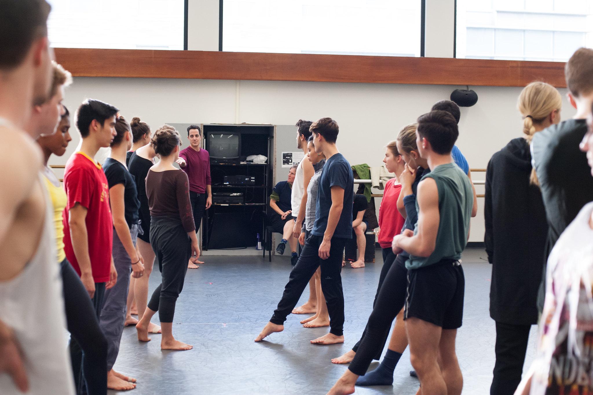 Juilliard dancers rehearse a new work by Kate Weare; photo by Keira Heu-Jwyn Chang