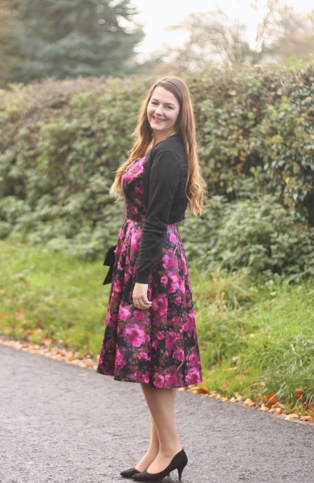 Vintage dress with cropped cardigan