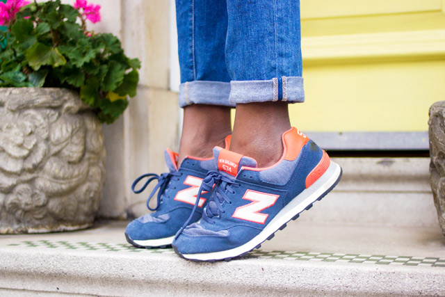 New Balance 574 peach trainers