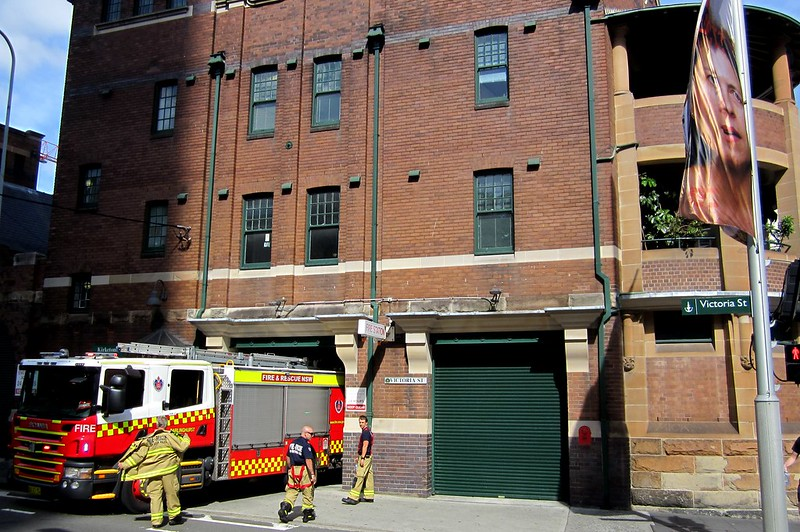 Sydney: a fire engine being backed into the Darlinghurst fire station