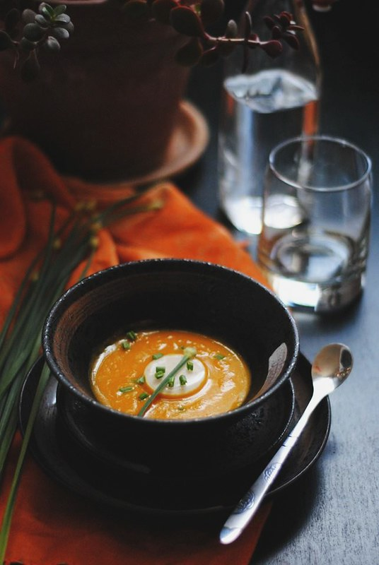 Garlic Panna Cotta with Curried Root Vegetable Soup