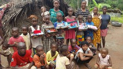 Villagers receiving shoebox gifts