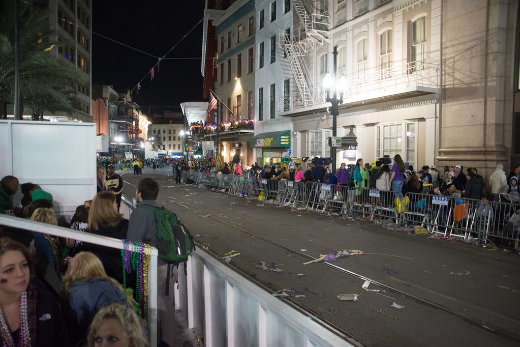 Place St. Charles grandstands during Mardi Gras parade