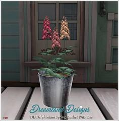 DD Delphinium Spring Bucket With Bee Vendor