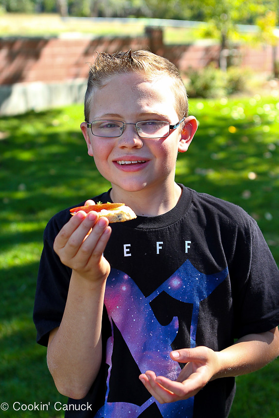Proudly holding his Cinnamon Apple and Goat Cheese Crostini...Sometimes the simplest recipes are the best! Only 44 calories and 1 Weight Watchers SmartPoint per crostini.