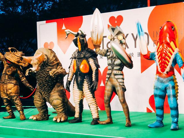 Photo:26th Tokyo International Film Festival: Baltan, Kanegon, Zetton & Metron from Ultraman By Dick Thomas Johnson