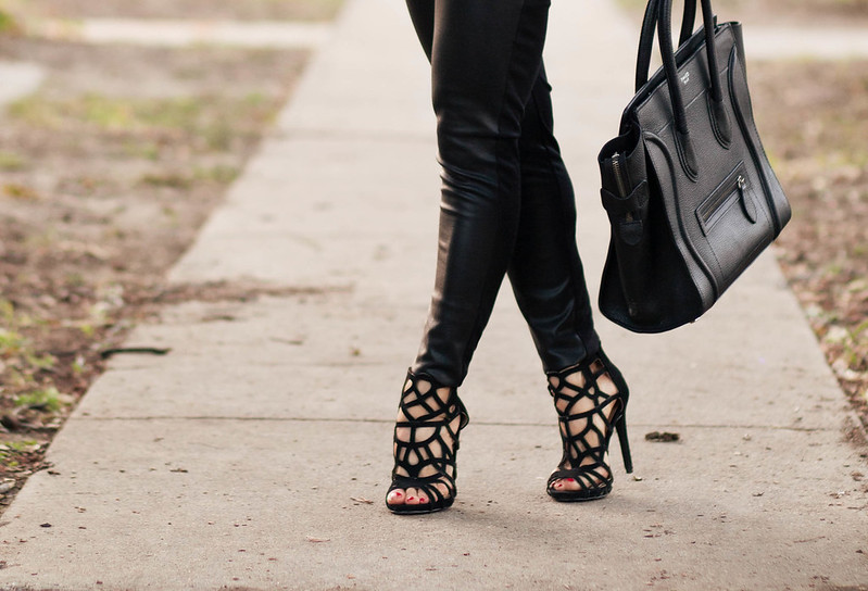 cute & little blog | petite fashion | justfab black caged booties, leather ponte pants, celine mini tote