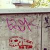 Speeding skull? A day of mainly travel. #Girona #heyho2014 #streetart