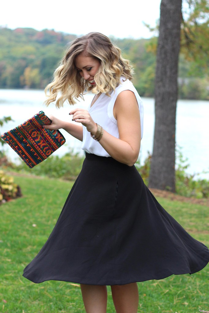 East vs. West Style: Fall Beauty | Black Midi Skirt & Sequin Clutch | #LivingAfterMidnite