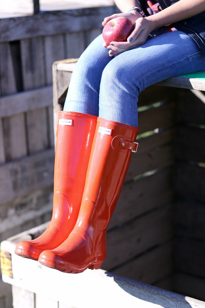Glossy red Hunter boots