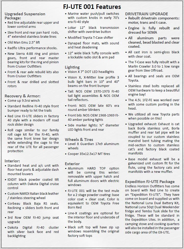 4 door FJ-40 Land Cruiser FJ-UTE Full Feature List