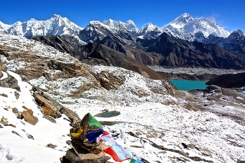 Gokyo, Everest, Lhotse from Renjo La Pass (5345m)