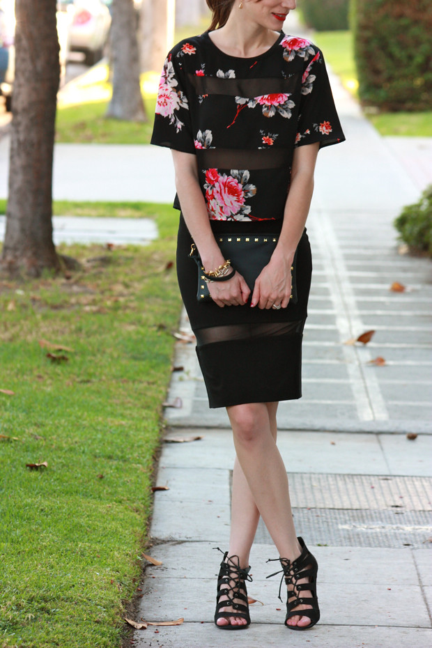 Floral Crop Top, Pencil Skirt with Sheer Panel