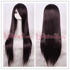 80cm long black purple straight cosplay hair wig CW280-I