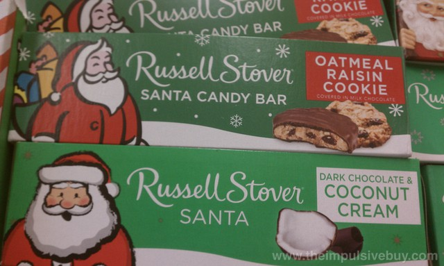 Russell Stover Oatmeal Raisin Cookie Santa Candy Bar and Dark Chocolate & Coconut Cream Santa