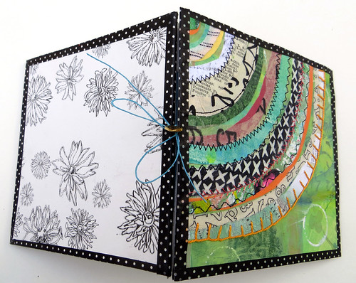 handmade book green recycled circle detail
