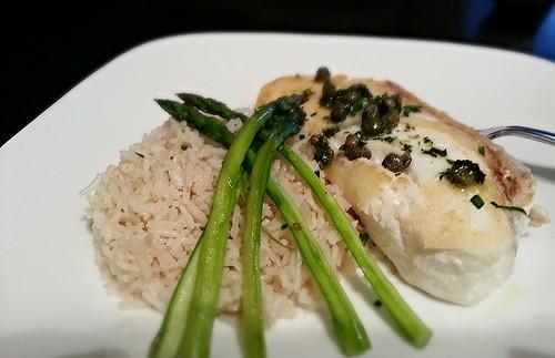 pan seared halibut w/lemon butter caper sauce, asparagus, and basmati rice