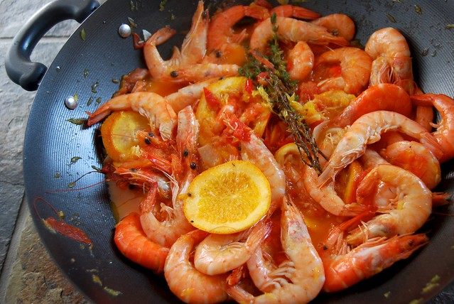 Prawns in Orange, Tomato & Cardamom