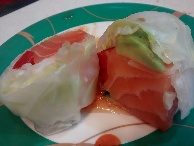 raw salmon, avo, capsicum rice paper roll