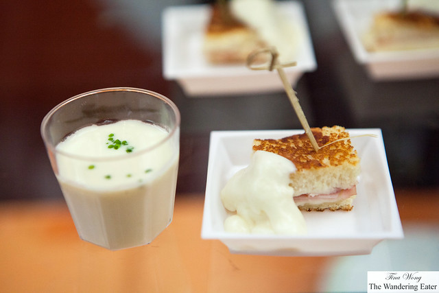 Shot of Potato vichyssoise and croque monsieur