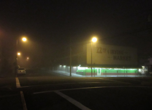 22nd and Irving Market in fog, early morning (2014)