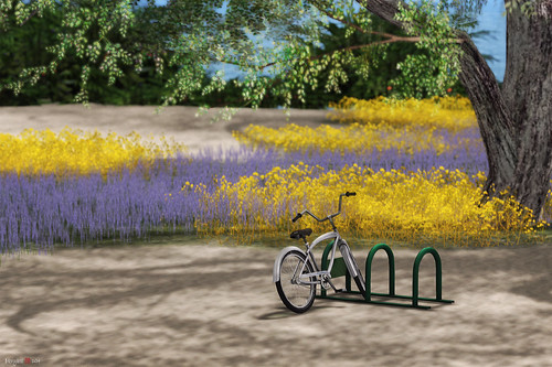 bicycle landscape sl secondlife virtualworld morgananagorski dreamworldvolcano
