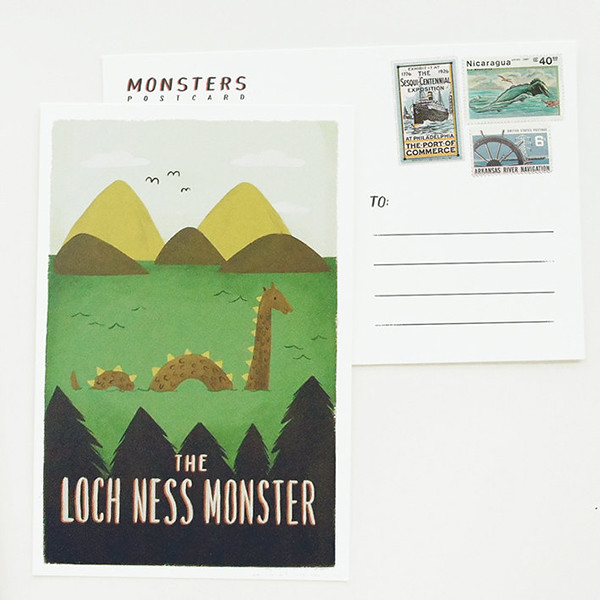 lochness postcard quill and fox