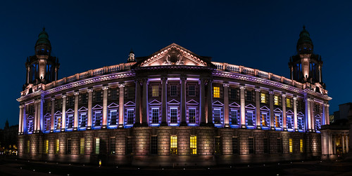 city urban panorama sculpture architecture evening unitedkingdom cityhall belfast panoramic publicbuilding windsor northernireland baroque urbanlandscape lightroom belfastcityhall classicalarchitecture baroquearchitecture baroquerevival canon24105mm canon6d nikdfine photoshopcc oct2014 baroquerevivialarchitecture