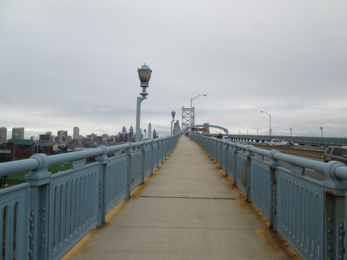 Pedestrian deck, Benjamin Franklin Bridge, Camden to Philadelphia