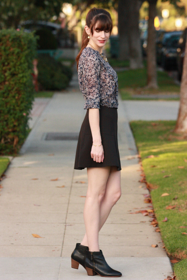 Floral Silk Blouse, Black Booties, Fit and Flare Skirt