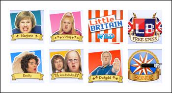 free Little Britain slot game symbols