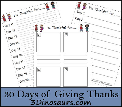 30 Days of Giving Thanks Free Printable (Image from 3 Dinosaurs)