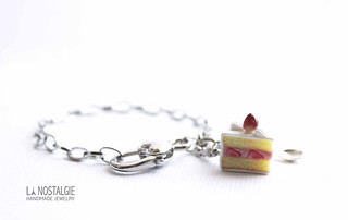 Mini cute strawberry shortcake slice charm bracelet death note handmade by La Nostalgie Jewelry