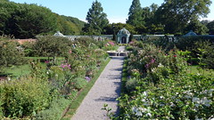 The English Herbaceous Border is Anchored by the Pergola in the Walled Garden