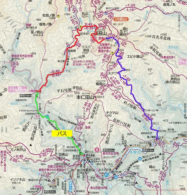 川乗山地図